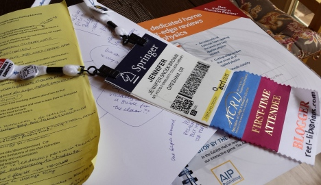 ACRL name badge and notes after the conference