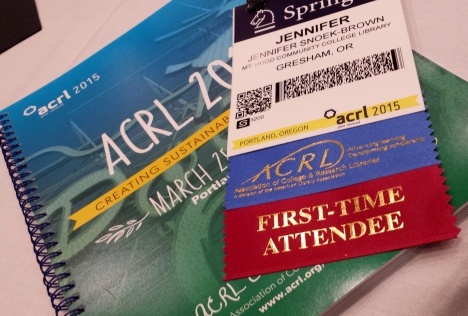 ACRL Oregon badge as the conference begins