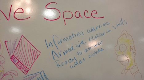 Haiku at the Creative Space whiteboard, OLA 2015