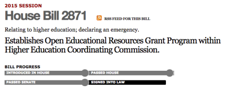 Screenshot of Oregon House Bill 2871