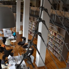 "View of the atrium space, the ""Crumpacker Family Reading Room,"" from the mezzanine at the Albert Solheim Library. Photo by Dan Kelley."