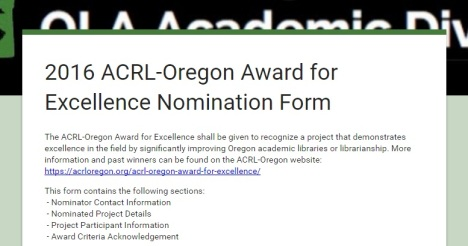 ACRL-OR Award for Excellence Nomination Form