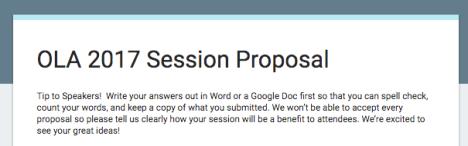 Screenshot of OLA 2017 program proposal form