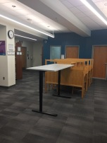 Photograph of traditional carrels and a standing desk