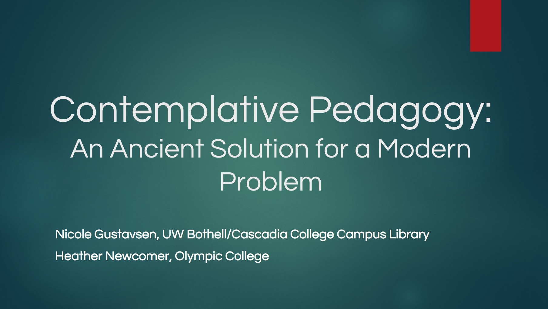 Title Slide from Contemplative Pedagogy Presentation