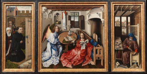Workshop of Robert Campin, Annunciation Triptych (Merode Altarpiece), 1427-32, Oil on oak